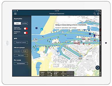 Waterkaart Live, app op de iPad
